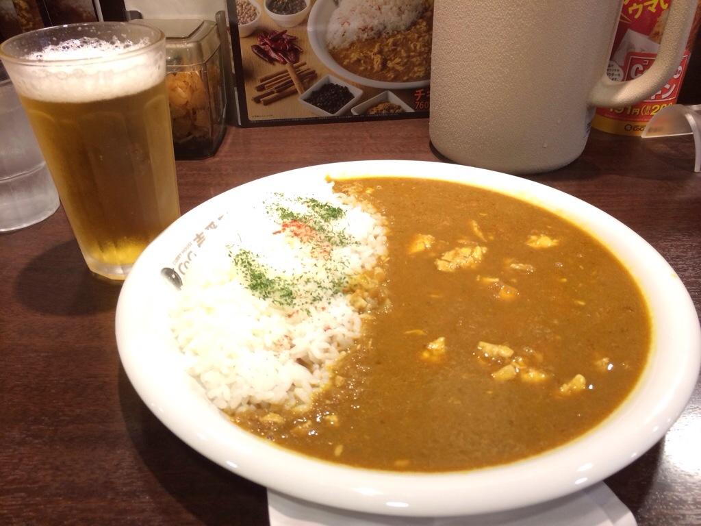 昼飯のココイチのインドチキンカレー!