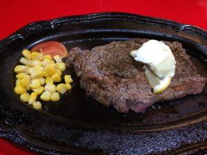 ブロンコの牛ロースステーキ!ミディアムレアおいしかったです!
