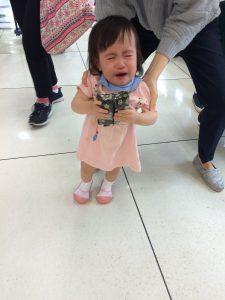 顔を見るなり号泣(;´・ω・)!!!笑