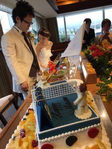 ウエディングケーキは卓球台です!(*^_^*)