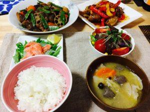 筑前煮☆豚と野菜の甘酢あんかけ☆サーモンのマリネなど