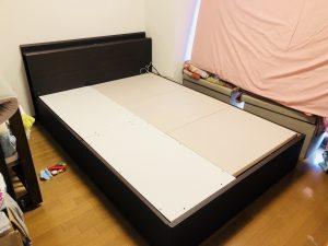 ニトリの収納付きベッド、解体前!
