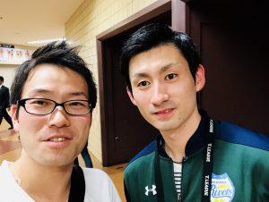 観戦に来ていた岡山リベッツの上田仁選手と写真を撮ってもらいました!(*^_^*)