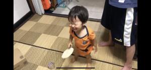 卓球して満面の笑み!笑