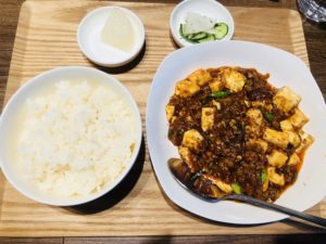 麻婆豆腐定食!ピリ辛でおいしかったです(*^_^*)