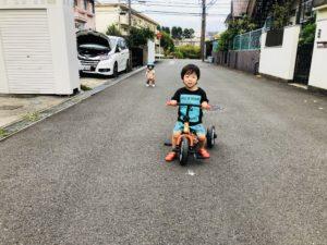 三輪車楽しいみたいです!心陽はよく歩くようになりました!(*^_^*)